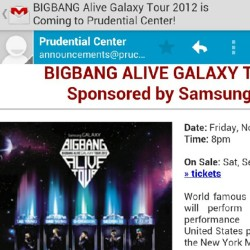 Lsjgneicbdosjoonniiffbcskeig soooo excited!!!!!! #Bigbang #kpop #alive #galaxy #worldtour #concert #NJ #PrudentialCenter #November #Gmail #콘서트 #뉴욕 (Taken with Instagram)