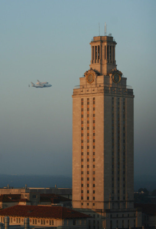 jtotheizzoe:  Good morning Austin. My town got a heckuva fly-by this morning as the shuttle Endeavour made its way to California to be put on display. What Starts Here, Changes the Galaxy. (This awesome shot was taken by @LaraEakins!)