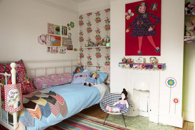nestprettythings:  Millie's Room by frillie designs on Flickr.  The Wallpaper!!!!! The chevron quilt!!!!!!! the micro fireplace with the my favorite color green tiiiiiiiiiiiiiiiiiiiiiiiiiiiiiiiiiiiiiiiiiilllllllllllllllllleeeeeeeeeeeeeeeeeeeeeeeeeeeeeeeeeeeeeee omfg omfg. OK I like this a lot.