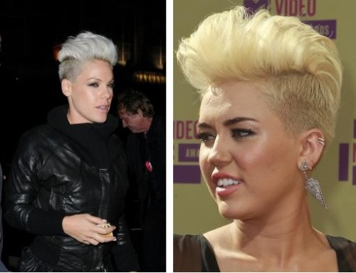 Miley Cyrus has definitely taken some flak for her shaved head hairstyle that essentially looked the same as Pink at the VMAs. However, one star came to her defense… Pink! Pink not only said she thinks Miley is beautiful but that she wears the hair-do better!