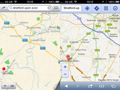 theamazingios6maps:  Are you wondering where Stratford Upon Avon, Warwick and Leamington Spa have gone? Aren't we all.  This Tumblr compares the Apple Maps to the Google Maps they replaced. It's painful (but I love it). H/T Lori.