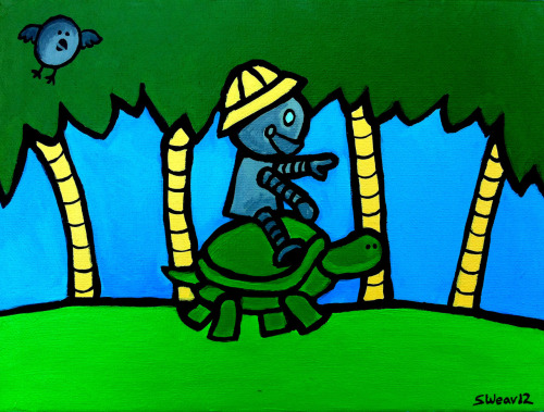 """Jungle Safari"" acrylic on 9x12 canvas. 2012."