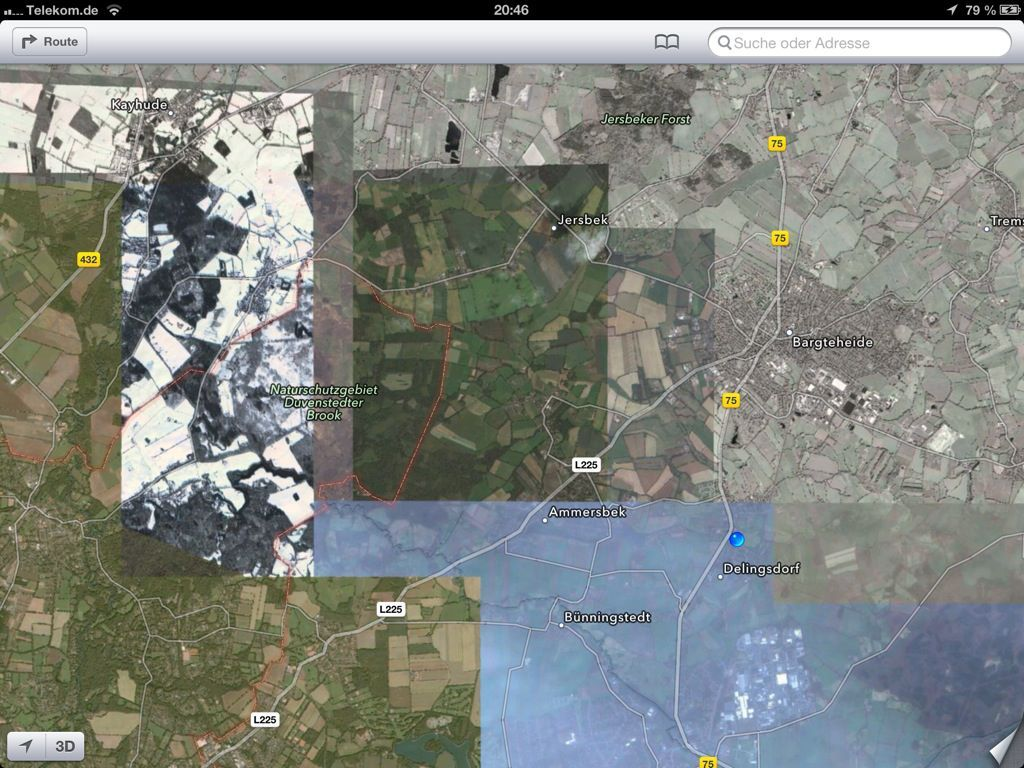 Satellite view near Hamburg, Germany.