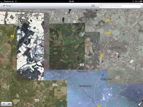 theamazingios6maps:  Satellite view near Hamburg, Germany.  Somewhere between glitch and new-aesthetic.