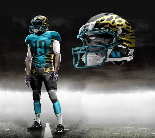 thepenaltyflag:  Jacksonville Jaguars helmet, uniform concept design A number of designers have taken their shot at redesigning the Jacksonville Jaguars helmets and uniforms to their liking. Could you imagine Blaine Gabbert, Maurice Jones-Drew, or Justin Blackmonwearing something like this? See more here…