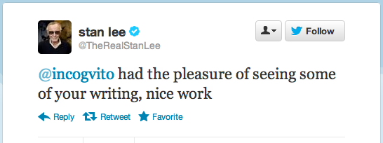 I'm gonna relish this one for a long time…thanks @TheRealStanLee