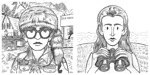 Drawings for a couple 'Moonrise Kingdom' relief prints.