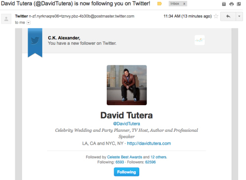 This just made my life! Yup, THE David Tutera is following little ol' me @Love_Ink! #GEEEEKED!