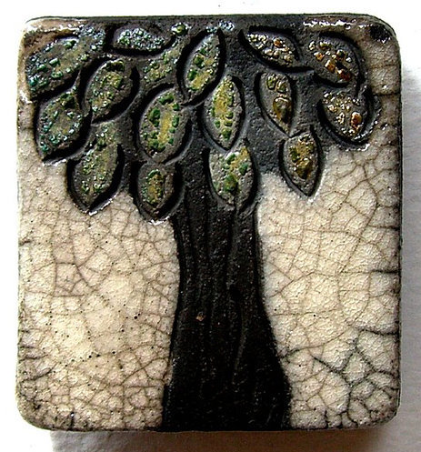 Raku Magnet - White Crackle & Shimmering Tree (by MAKUstudio)