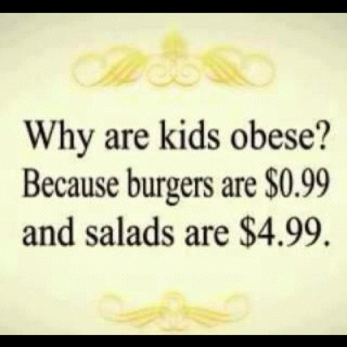 Why are kids obese? Because their parents are lazy and/or neglectful. Why in the FUCK would you pay $4.99 for a salad when you can make a weeks worth of salads for that? #lazy #excuses #failtoplan then #plantofail  #eatclean #eattolive   And honestly? What kid eats a salad regularly anyway? Why not teach them how to EAT and eat REAL food (not that salad isn't but we all know that once you throw that gallon of dressing on, you might as well have had the burger) so that they have the habit for life. I also think those with obese kids should have to take a class or whatever, it's just as bad as the neglectful parent who does drugs. Seriously… #unpopularopinion  (Taken with Instagram)