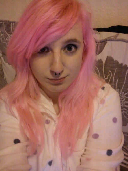 So, my hair is pink now. Yaaay. Also new jammies.