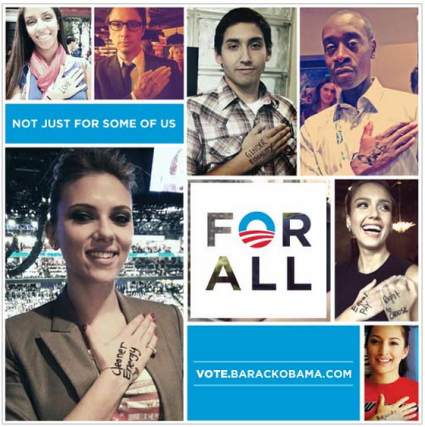 "In a new campaign called ""For All,"" Obama supporters are encouraged to ""[c]hoose one of your reasons for voting and write it on your hand, then pledge to vote."" While some have called the whole hand gesture thing creepy, I see it as a good marketing idea. After all, this is the age of We Are the 99% and Pet Shaming — the whole have-supporters-submit-photos-with-text-following-a-strict-format thing works for online marketing, and it works well. I have no doubt that we'll see ""For All"" photos on Buzzfeed any time now (if they're not there already). For me what's creepy is the brazen hypocrisy of the theme of this project: ""For All."" The reference, of course, is to the end of the Pledge of Allegiance — the ""with liberty and justice for all"" bit. And the implication is that liberty, justice, and other good things like cleaner energy, as the back of Ms. Johansson's hand declares, will be available for all under a second Obama term…not just the few rich people Mitt Romney invites to his weekend clam bakes. That's a great message, but it's not one which meshes with Obama's actual record in office. Glenn Greendwald has a great book out which has an incredibly appropriate title for this discussion:  With Liberty and Justice for Some. If you're not familiar with Greenwald's work, he's a civil liberties litigator and prolific writer whose online home was Salon until he very recently departed for the UK's Guardian.  As one review summarizes,  [The book] is a damning indictment of America's two-tiered justice system in which political and financial elites are vested with virtual legal immunity while everyone else is punished for the most trivial of legal infractions. Instead of the law being used to protect those most vulnerable, it has instead, especially in the past four decades, turned into a weapon to protect the powerful from prosecution for their many crimes, and these crimes are outlined in the book with shocking effectiveness.  To give an example on which Greenwald spills a lot of ink, one of the defining features of Obama's promise of change in 2008 was a return to the rule of law in contrast to the Bush era. He specifically indicated in debate with Hillary Clinton that he would investigate Bush Administration officials for potential war crimes. Yet, even before he took office, Obama indicated that he would not actually pursue the matter. ""Nine days before Obama's inauguration,"" Greenwald writes, ""the New York Times published an article headlined 'Obama Reluctant to Look Into Bush Programs.'"" And, indeed, the Bush torturers have gotten away scott free. That's not the only instance in which ""For All"" has been proven a flat-out lie in an Obama Administration policy vs. Obama Campaign rhetoric match-up. In an interview on the book, Greenwald comments [emphasis added]:  Obama has displayed no interest whatsoever in holding elites accountable for criminality: not just political actors, but financial elites as well. If anything, it's even more unlikely that he would hold elites accountable in his second term…by shielding those who came before him, Obama ensures that he can commit crimes with impunity as well. That's why all elites—political, financial, media—are motivated to defend and preserve this lawbreaking license for their class.  For further examples of the lack of equal treatment under Obama, consider his assassination without trial of an American citizen and his innocent, 16-year-old son. Consider his endorsement of additional drug war spending, a failed program which disproportionately targets minorities and the poor. (Is Lindsay Lohan in jail? No? Ok, I think the point is made.) Consider Bradley Manning, who was held naked and alone in a tiny cell for up to 23 hours a day while the people responsible for the crimes shown in the documents he leaked walk free. Consider how eager Obama is to retain the power to indefinitely detain Americans without charge or trial. Consider what would happen if you committed fraud and also what happened to the Wall Street execs who committed fraud (I don't have a link for that, because nothing happened except that they got tons of free money). However nice the pictures may look and however well this campaign may work, Obama is not ""For All."" Not even close. — Bonnie"