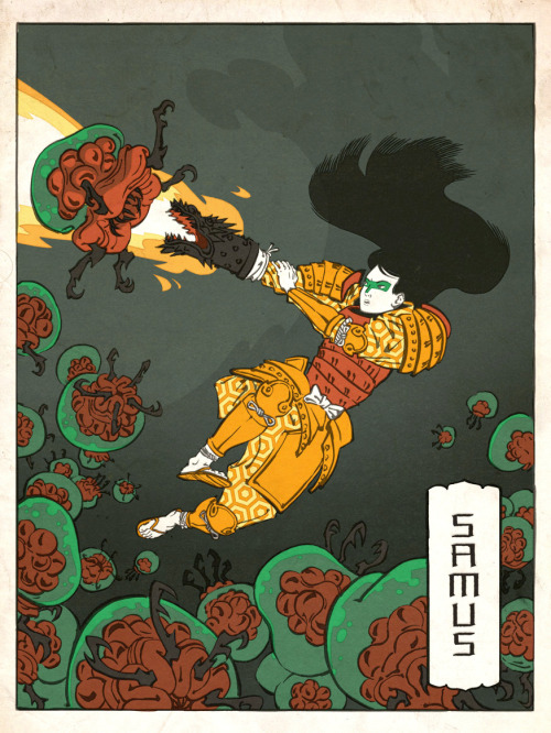 Samus as a Japanese Ukiyo-e by ~thejedhenry