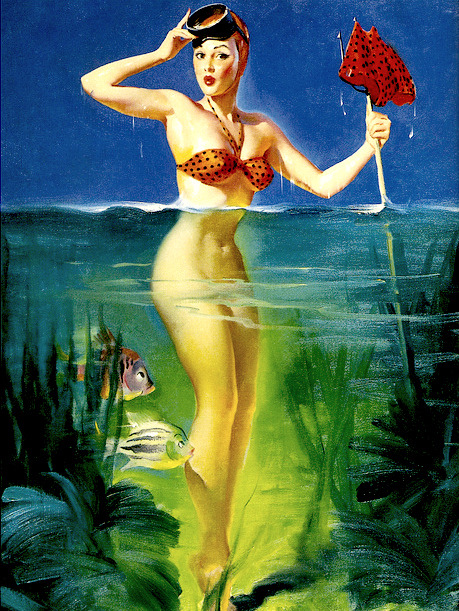 sophialorens:  Suprising Catch by Gil Elvgren