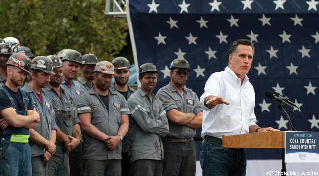 tpmmedia:  A new television ad from the Romney campaign touting coal as a reliable source of energy features a group of miners from Beallsville, Ohio, who were allegedly required to attend the candidate's rally there last month.   And also forced to attend the rally, WITHOUT PAY!!! He basically hired his audience behind him for the speech.