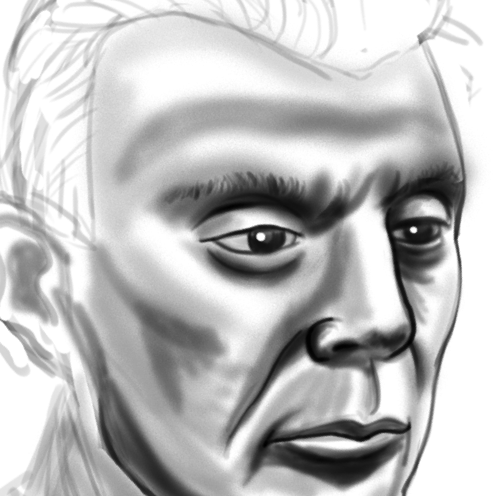 Closeup of a David Byrne I'm working on for a zine.