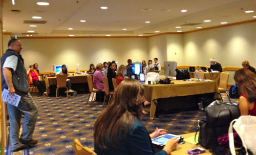 #ONA12 inaugural Student Newsroom story planning meeting. Student journalists from across the country will be covering the conference, a gathering of hundreds of journalists exploring the latest in digital journalism. Stay tuned and follow the student reporting, which goes live tomorrow.