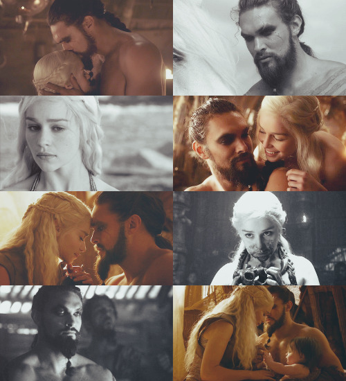 "star-spangled-stark:  khal drogo and daenarys targaryen   ""maybe it is a dream. your dream, my dream, i do not know. these are questions for wise men with skinny arms. you are the moon of my life. that is all i know and all i need to know."""