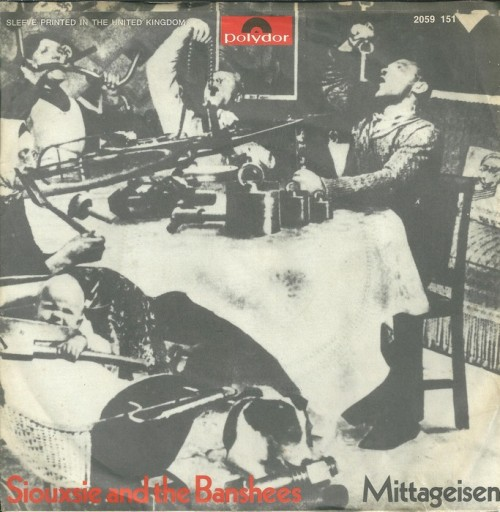 "Siouxsie And The Banshees - Metal Postcard / Mittageisen (1978)4th single from the band, and the first to not chart (although Love In A Void became wildly successful a year later). Originally titled ""Letter To Heartfield"", single cover comes from John Heartfield's ""Hurrah, die Butter ist alle!"" The chorus is taken from one of Goerring's speeches during the Second World War.  Siouxsie: ""It's a warning song. The whole propaganda of the Nazis at that time was very dangerous and it could easily creep its way in without there being all the hysteria of killing the Jews. Their whole propaganda could easily fit in today… Not being able to get away from the commands of the day, not being able to escape, the idea of having cameras in your room and having people watching you…"" [1 2]"