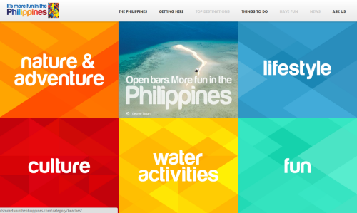 Launched the first phase of the new It's More Fun in the Philippines website last saturday! We're still pushing the developers to fix a handful of bugs. So far we've been getting mostly positive feedbacks. Good job, team! Also, don't forget to like the official Facebook Page of the Philippines!