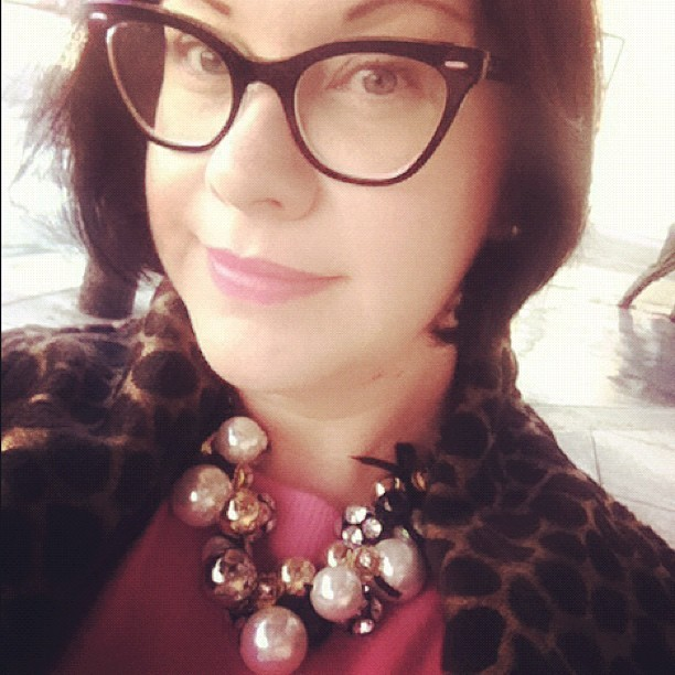 Style recipe for today: hot pink cashmere, animal print and oversized baubles! (Taken with Instagram)