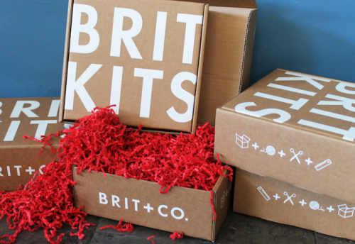 brit:  BIG NEWS! Announcing the launch of Brit Kits, our most popular DIY projects, delivered monthly. Stop pinning and start making!  Extra extra! Read all about it! Brit + Co. is launching into the world of monthly subscriptions, one DIY kit at a time. Three cheers for Brit Kits!!