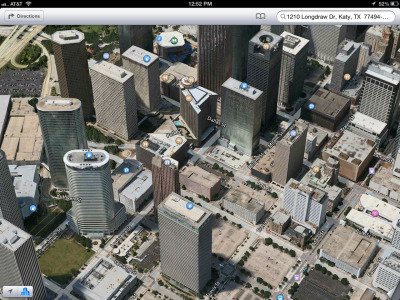 theamazingios6maps:  Downtown Houston's newest filling stations on the skyline rooftops! (Those are corporate headquarters, not gas stations).  Corporate Headquarters fail