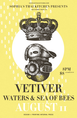 "Vetiver, Waters, Sea of Bees 12 x 19"" Poster, Serigraph Interval Press"