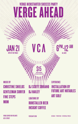 "Verge, Kickstarter Success Party 12 x 19"" Poster, Serigraph Interval Press"
