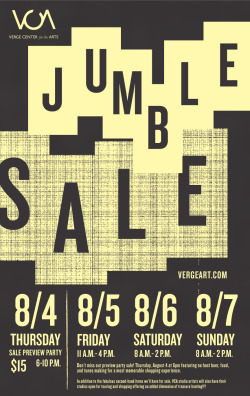 "Verge, Jumble Sale 12 x 19"" Poster, Serigraph Interval Press"