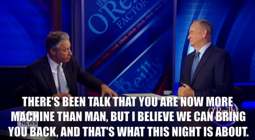 comedycentral:  In case you missed it, Jon Stewart was on The O'Reilly Factor Tuesday night to explain his reasons for agreeing to debate Bill O'Reilly. If you ask me, taking on O'Reilly will be easier than bullseyeing womp rats in a T-16. Click the image to watch. And click here for more info on The Rumble in the Air-Conditioned Auditorium.  The video was entertaining but I felt dirty being on FoxNews.com