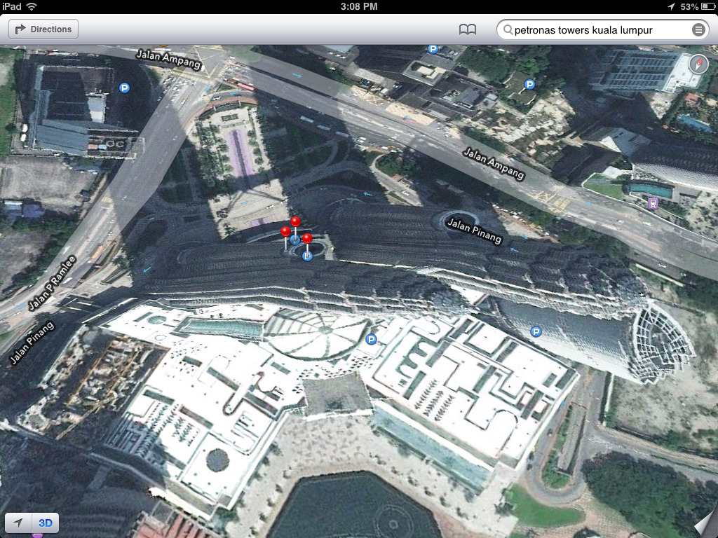 theamazingios6maps:  Salvador Dali's Melting Petrona Towers (Kuala Lumpur)  Haha iOS maps, that's ridiculous… Wait…
