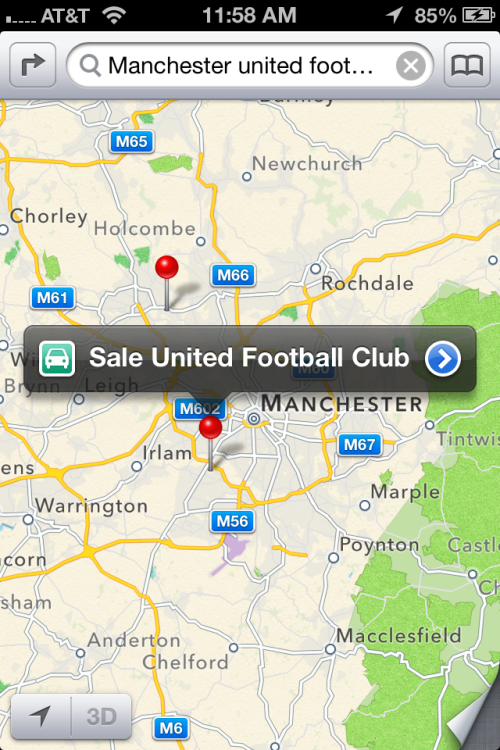 theamazingios6maps:  Search for Manchester United Football Club, the most popular football club in the world and what do you find… Sale United Football Club, a community team for ages five and above.