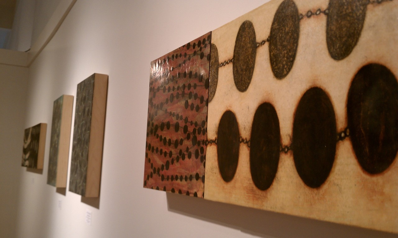 For today, a shot of Diana Gonzalez-Gandolfi's encaustics, as seen in our current show, Up From the Cracks, on view until November 16.
