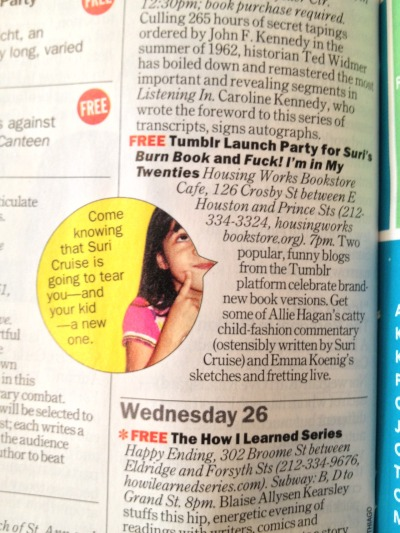 rachelfershleiser:  Time Out New York thinks you should be there…  THIS TUESDAY, KIDS!