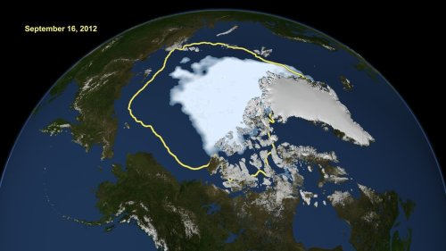 politics-war:  Arctic ice shrinks to all-time low; half 1980 size This image made available by NASA shows the amount of summer sea ice in the Arctic on Sunday, Sept. 16, 2012, at center in white, and the 1979 to 2000 average extent for the day shown, with the yellow line. Scientists say sea ice in the Arctic shrank to an all-time low of 1.32 million square miles on Sunday, Sept. 16, 2012, smashing old records for the critical climate indicator. That's 18 percent smaller than the previous record set in 2007. Records go back to 1979 based on satellite tracking.