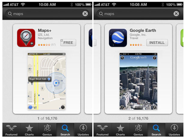 If you're searching for apps in the App Store on iOS 6, make sure you have plenty of time to search, because you'll only get one search result at a time.