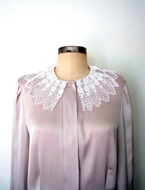 LACE COLLAR Silky Taupe Blouse, now in the shop!