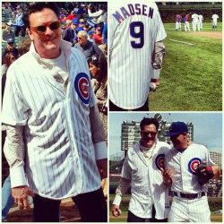 Actor Michael Madsen visits Wrigley Field and threw the ceremonial first pitch before today's Cubs game.