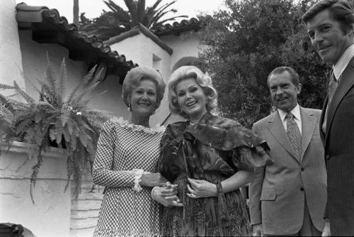 President Nixon and First Lady Pat Nixon greet Hollywood star Zsa Zsa Gabor and her escort, William France.  San Clemente, California.  8/27/72. Happy Friday! -from the Nixon Library