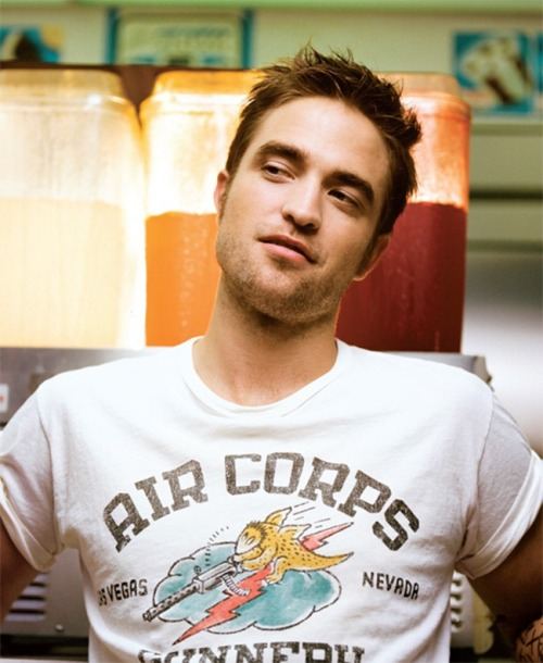 lemonkitten:  schottnyc:  Robert Pattinson in our Air Corps Tee in the September issue of Blackbook Magazine.  Swagger ;)