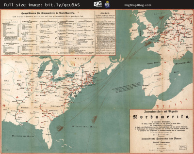 Map: German Immigrants to North America (1853) originally posted to the BIG Map Blog.