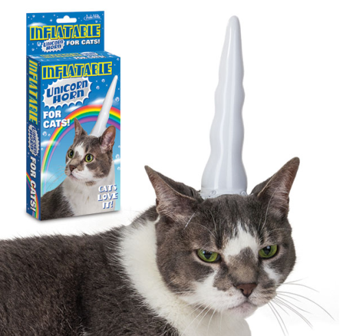 wickedclothes:  Inflatable Unicorn Horn — for Cats! No longer do you need to choose between having a unicorn and having a cat! Sold on Accoutrements.