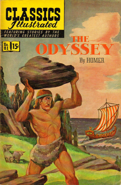 Classics Illustrated - No. 81 - The Odyssey - Oct, 1966  The Odyssey (Greek: Ὀδύσσεια, Odysseia) is one of two major ancient Greek epic poems attributed to Homer. It is, in part, a sequel to the Iliad, the other work ascribed to Homer.  The poem is fundamental to the modern Western canon, and is the second oldest extant work of Western literature, the Iliad being the first. It is believed to have been composed near the end of the 8th century BC, somewhere in Ionia, the Greek coastal region of Anatolia. The poem mainly centers on the Greek hero Odysseus (or Ulysses, as he was known in Roman myths) and his ten year journey home after the fall of Troy.  - MORE -
