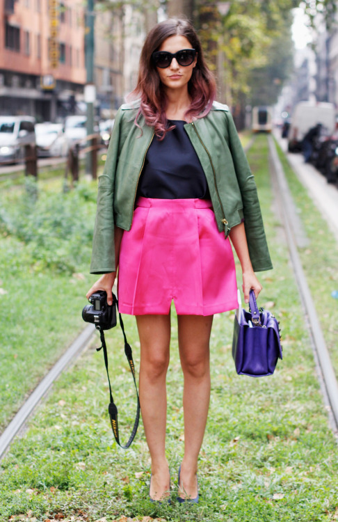 glamour:  Eleonora Carisi at Milan Fashion Week. See more street style from the spring 2013 shows, over on Glamour.com.