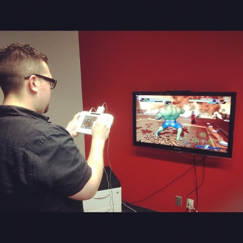 Me playing #Avengers: #BattleForEarth on #WiiU. I actually totally love using the gamepad with stylus and screen. About to try with the Wiimote and nunchuk. #gaming #comics  (Taken with Instagram)