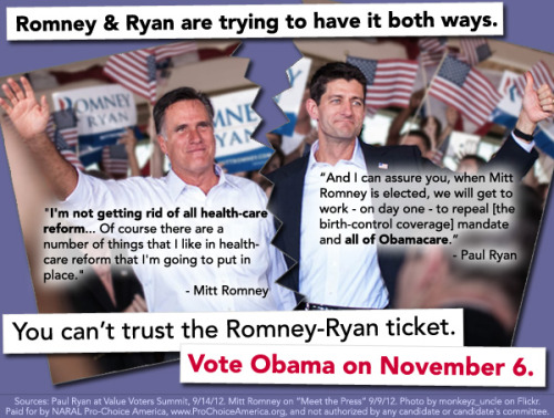 Mitt Romney and Paul Ryan are trying to play both sides. Enough is enough. Spread the word: we can't trust the Romney-Ryan ticket.