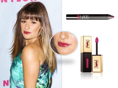 Melanie Inglessis, told us what Lea wore to the Nylon Launch, Yves Saint Laurent Rouge Glossy Lip Stain £22.50 (in Fuchisa Dove) Nars Velvet Gloss Lip Pencil £17.50 (club mix)