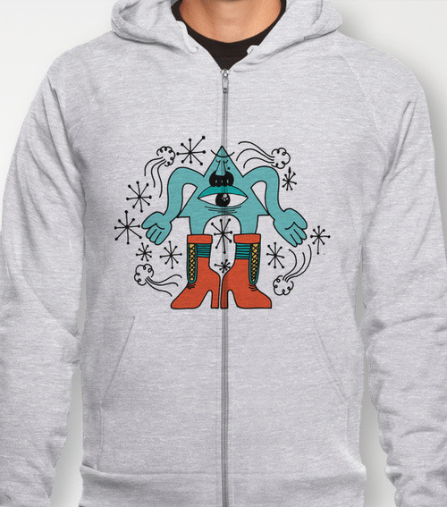 eye look.  by MR VELA Hoody / Unisex Zip Heather Grey SMALL