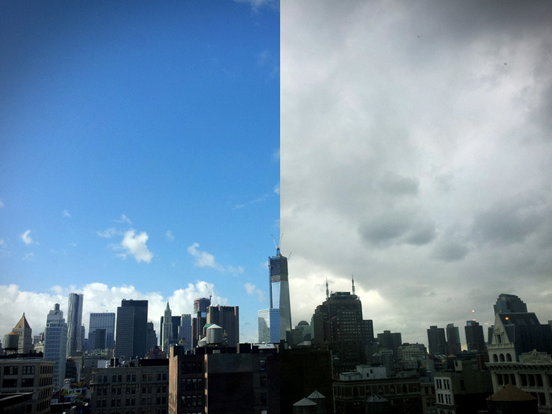 newyorkeveryday:  Sep 20. 10:05am (Left) 4:32pm (Right)  Downtown from SoHo. New York (Series three)